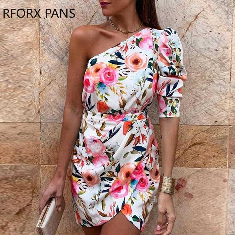 Um ombro Floral Imprimir Bodycon Vestido