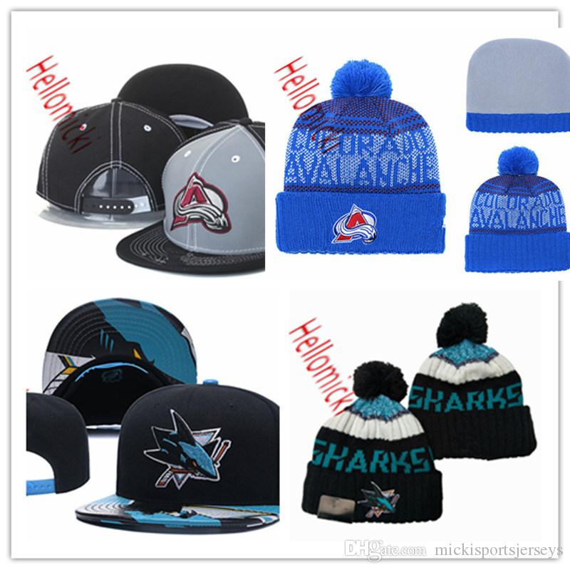 San Jose Sharks Knit Hat Black Green embroidered grey Colorado Avalanche Snapback Caps one size fit most