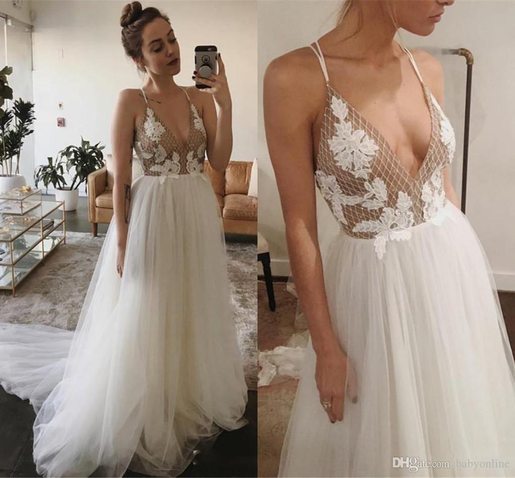 Простой Дизайн Sexy Спагетти Пром платья Line Белый Тюль Аппликации Длинные платья партии вечера Bridal платье Дешевые Плюс Размер