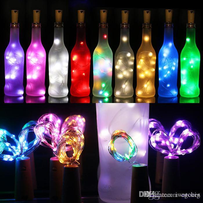 Luces tapón de la botella del corcho en forma de botella 1M 2M de vino del vidrio de alambre de cobre cadena luces LED tapón romántica de San Valentín decoración de la boda del partido