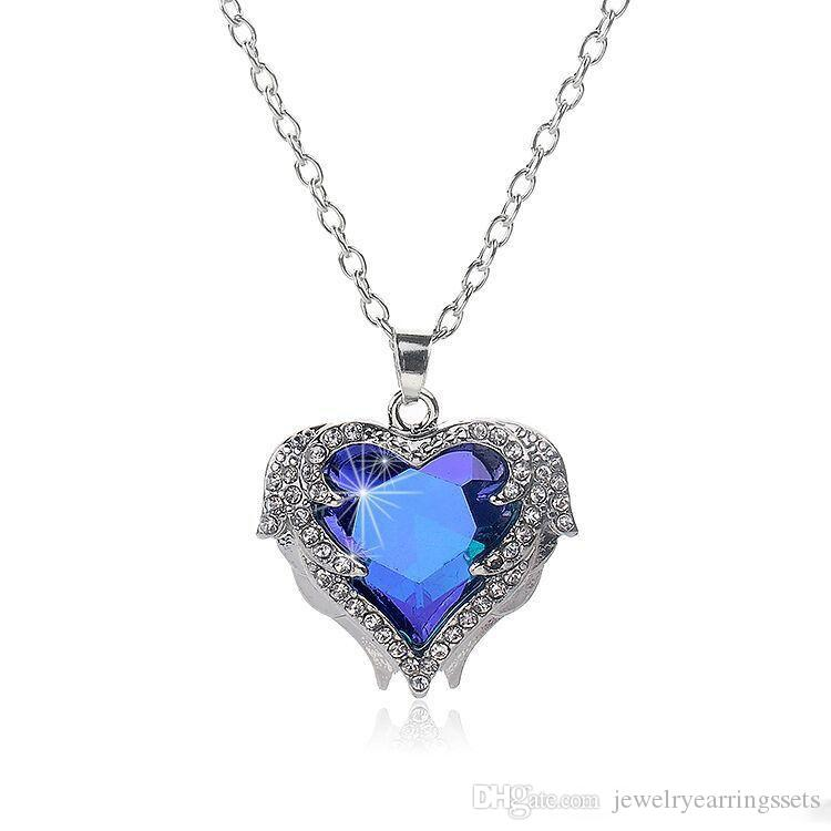 Angel wings Gemstone necklaces For women crystal Love Heart shape Pendant Silver chains necklace Fashion Female Jewelry