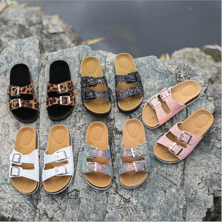 Cork Sandals Slippers Sequins Flip-flops Slipper Summer Antiskid Sandles Beach Double Buckle Casual Slippers Sandalias Footwear Shoes B7481