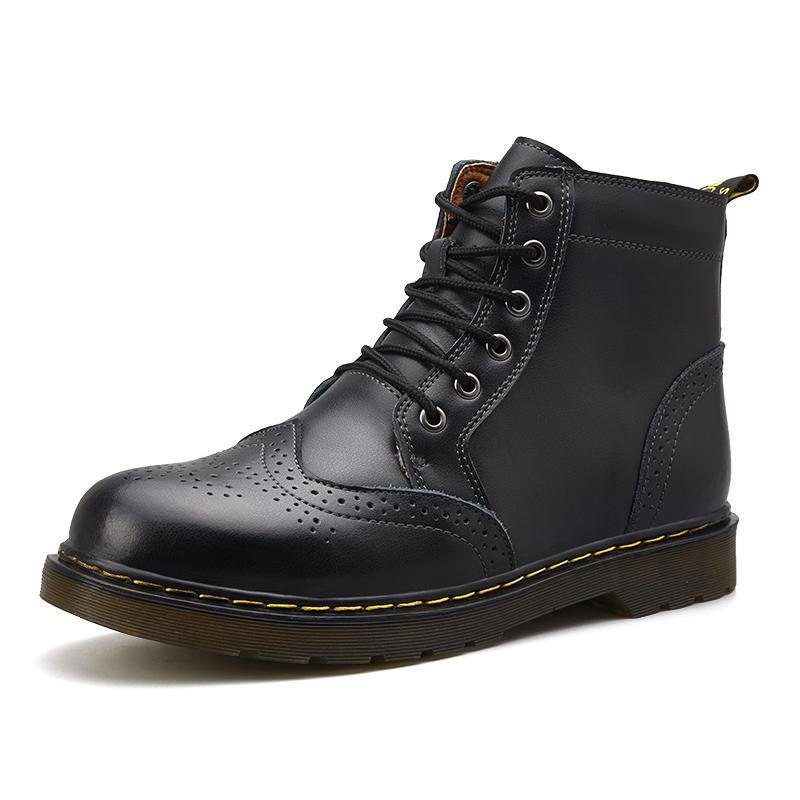 Alta calidad del cuero genuino de los hombres de invierno impermeables tobillo de los zapatos botas de montar botas al aire libre de los hombres de trabajo 6 # 25 / 20D50