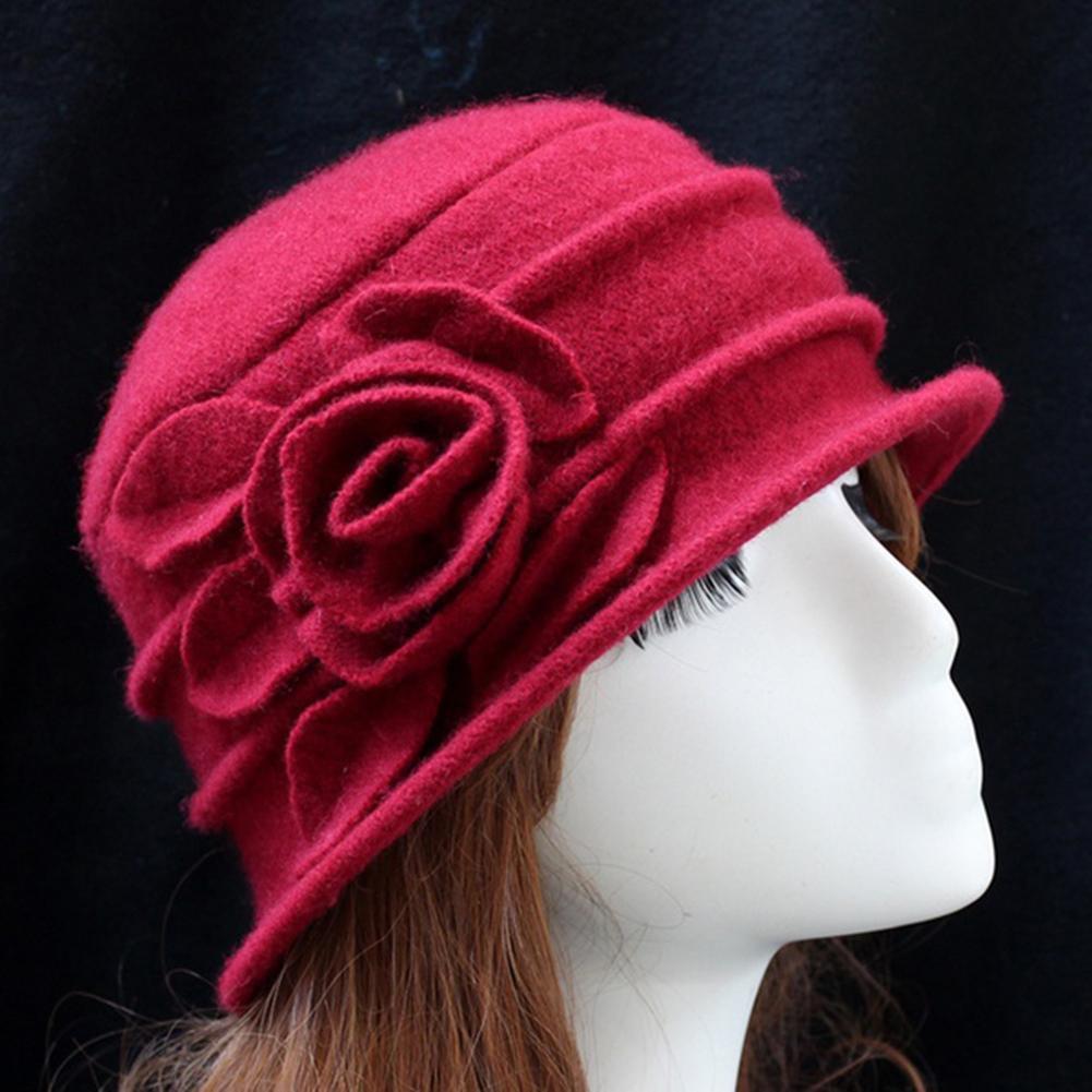 Kış kadın Bağbozumu Şapka Kilise Cloche Sineklik Lady Şapkalar Çiçek Düz Renk Kapaklar Yün Kova Hap Yüksek Kalite kadın Hap D19011103