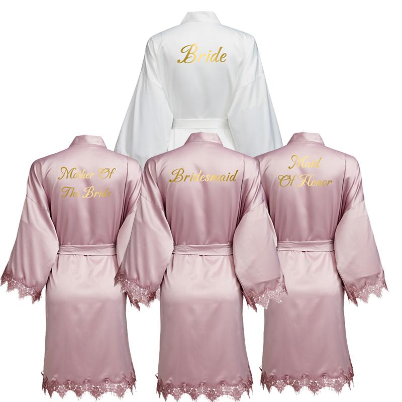 Cordón del traje de raso malva YUXINBRIDAL Nueva Matt con el ajuste del vestido de novia de la boda de novia dama de traje del kimono Batas Batas de novia