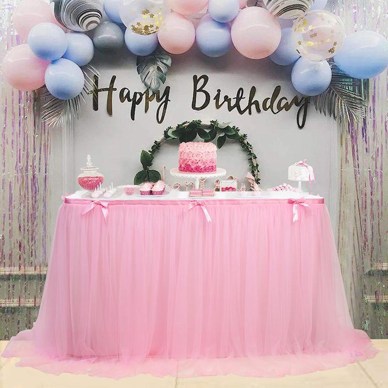 حفل زفاف تنورة الطاولة ... ... حفلةالزفاف Tutu Tulle Tableware قماش ... ... حفلعيدالميلادالمأدبة ... ... حفلةالزفاف تنورة ... ... الديكور المنزل Y200421
