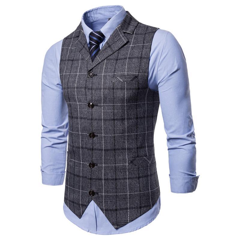 Chalecos de vestir para hombres Chaleco de traje de un solo pecho grueso Hombre E-strip Chaleco de negocios de los hombres Chaleco de los hombres Chalecos Gilet Homme para