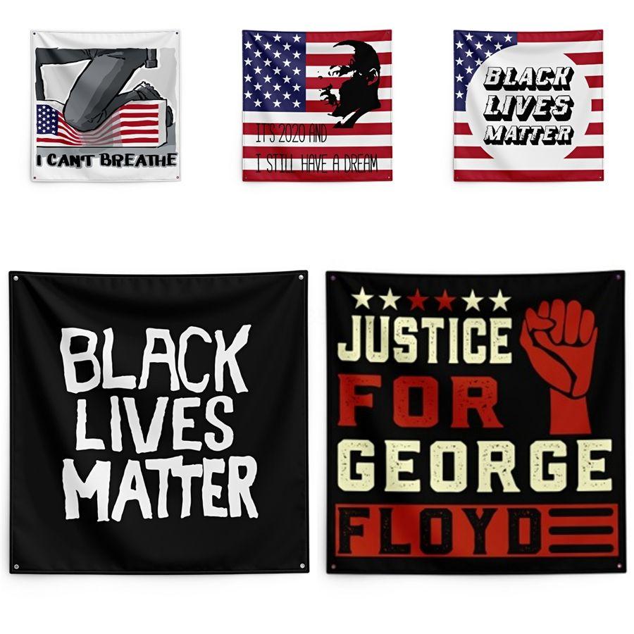 150 * 150 centímetros I Cant Respire Blanket George Floyd Impressão Tapeçaria Mora Preto Matéria Household parede bandeira # QA29059