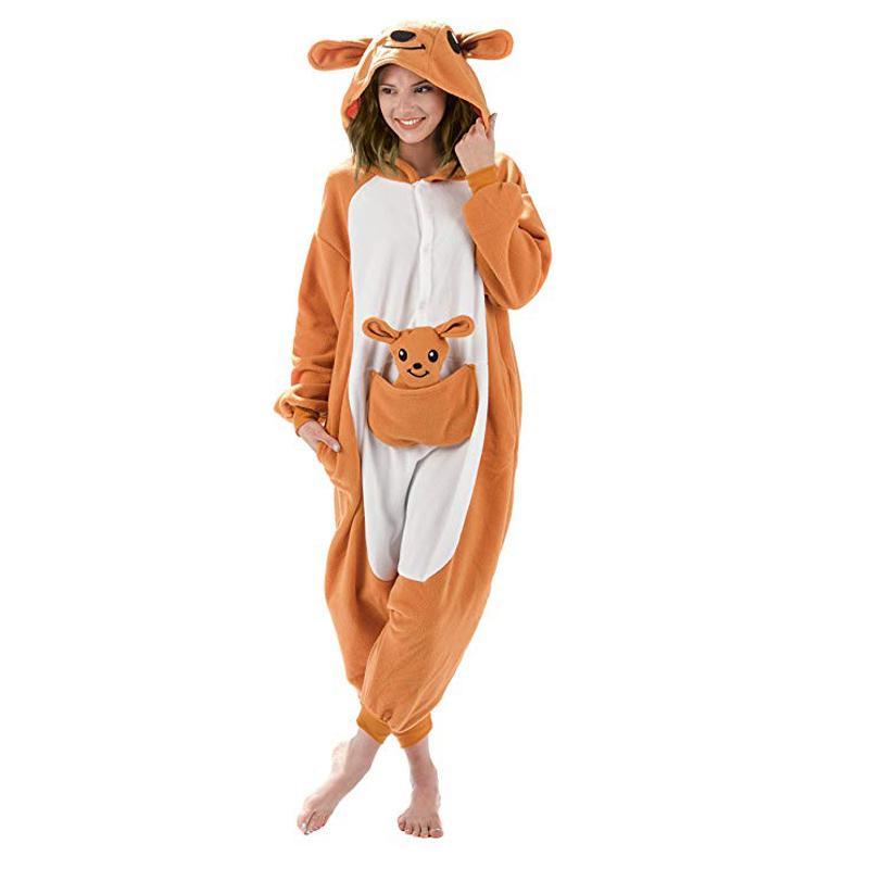캥거루 남여 성인 잠옷 크리스마스 할로윈 의상 Y200425에 대한 원피스 잠옷 코스프레 만화 성인 바디 수트 동물 잠옷