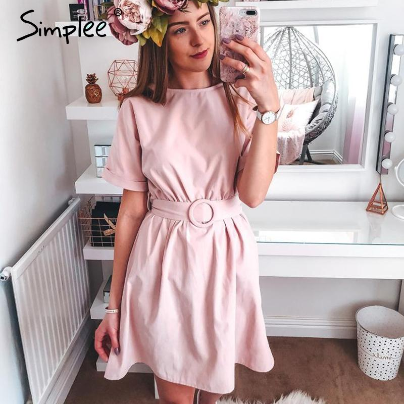 Dresses Simplee High waist women short Belt batwing sleeve female summer dress Streetwear lady o-neck chic solid pink casual dress