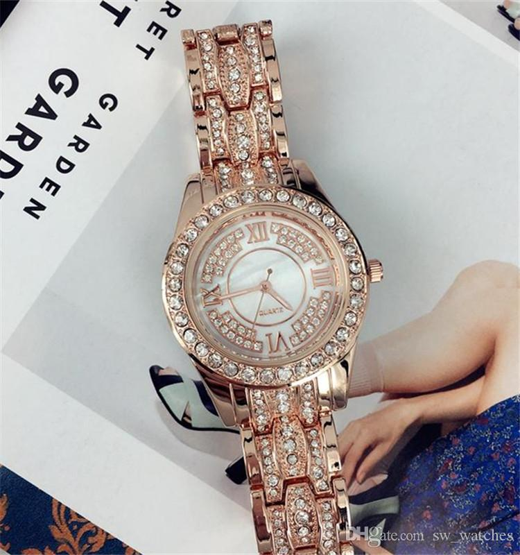 핫 판매 골드 / 실버 여성 시계 패션 고급 스테인레스 스틸 디자인 Relojes 드 마르카 Mujer 레이디 드레스 시계 도매 여자는 선물을 재는데