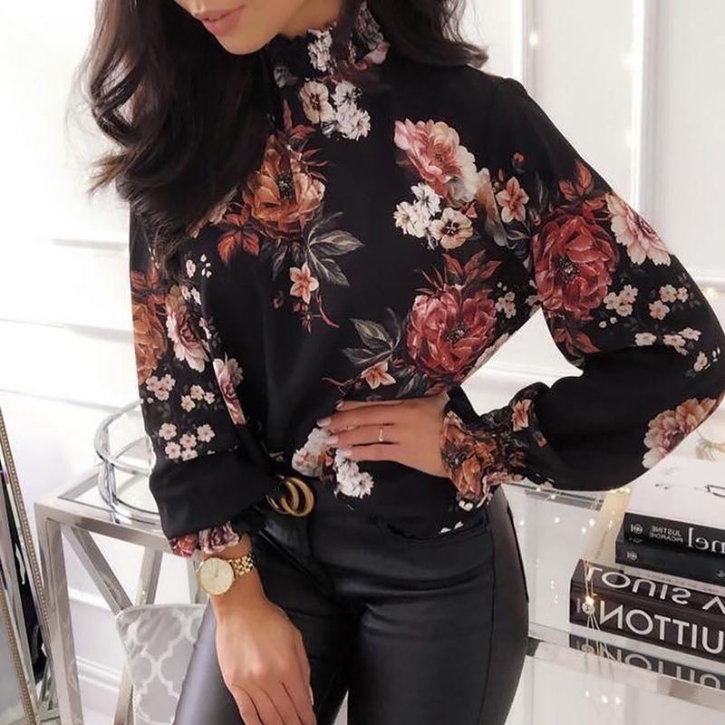 2019 Moda Feminina Elegante Escritório Workwear Camisa Chiffon Feminino Elástico Cuff Top Allover Floral Imprimir Manga Comprida Blusa