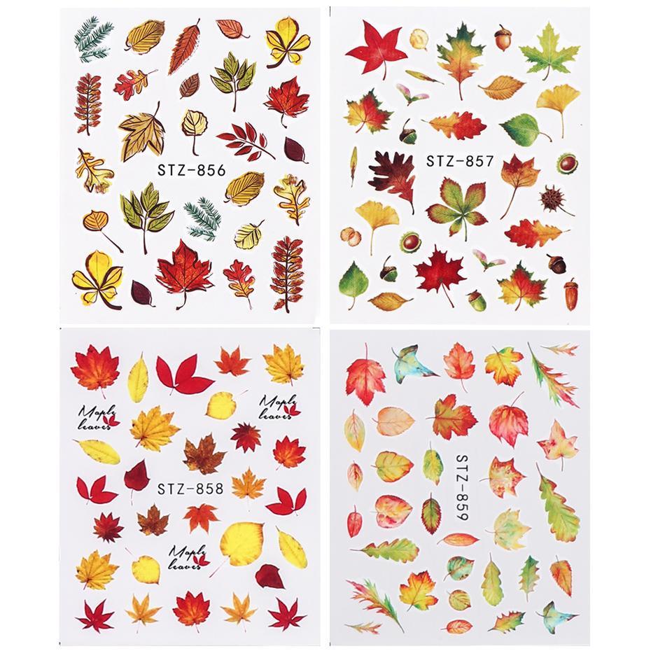 1pcs Feuilles d'automne autocollants pour les ongles Rouge Jaune d'érable Gauche eau Nail Art Stickers Curseur enveloppements manucure Décor Tattoo SASTZ856-859
