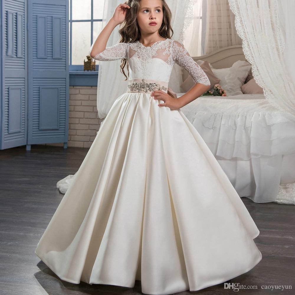 2020 Sıcak Sevimli Fildişi Çiçek Kız Elbise Düğün İçin Custom Made Yeni Geliş Sıcak Pageant Elbise Uzun Kollu ve Aplikler Saten