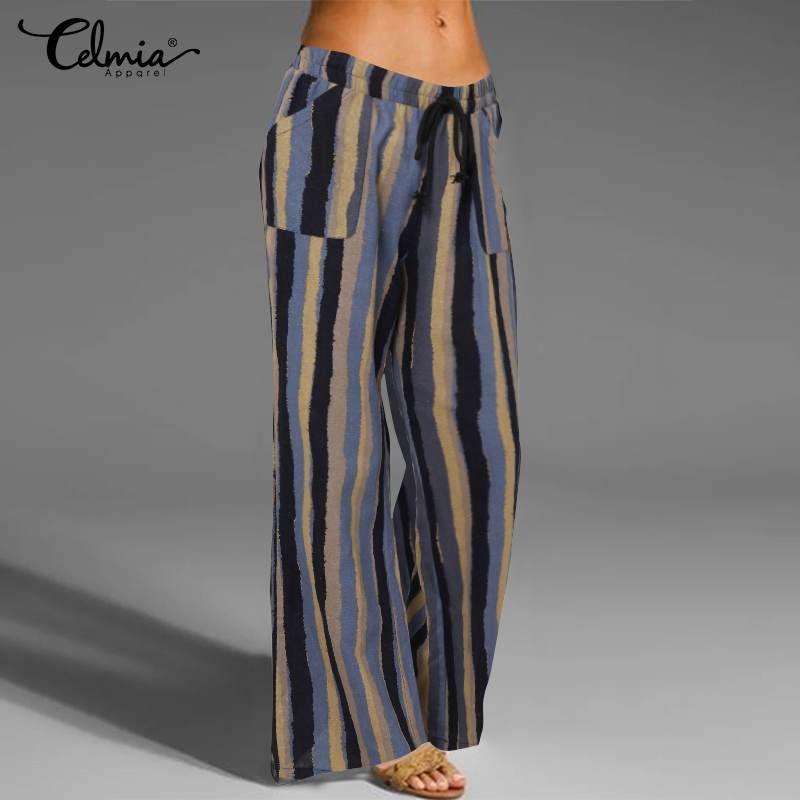 Bayan Pantalone Celmia Rahat Vintage Geniş Bacak Uzun Pantolon Kadın Gevşek Elastik Bel Keten Pantolon Moda Baskı Palazzo Pantolon
