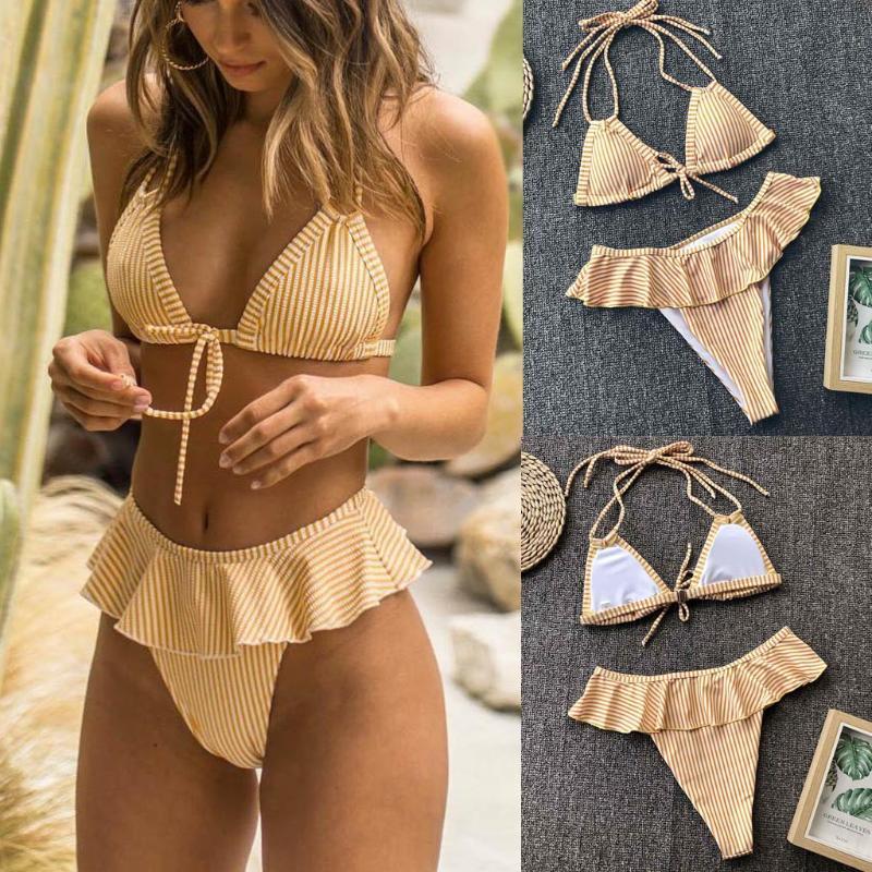Women Bikini Set Women's Ruffled Swimsuit Split Bikini Push-Up Pad Swimwear Swimsuit Bathing Beachwear Set Bathing Suit