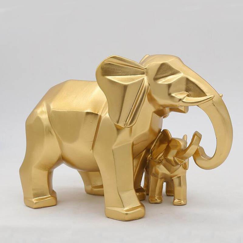 Gold Modern Geometric Gold Elephant Resin Home Decoration Accessories Crafts for Sculpture Statue Ornaments Mother and child T200619