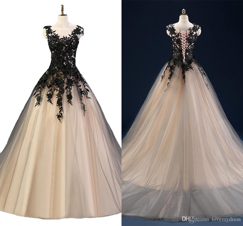 Champagne and Black Prom Dresses