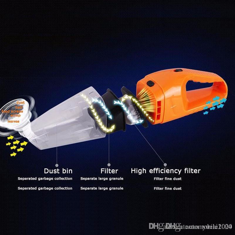 Aspiradora de automóviles 120W portátil portátil aspiradora de mano mojado y seco doble uso del coche aspirateur vitureure 12V coche limpieza