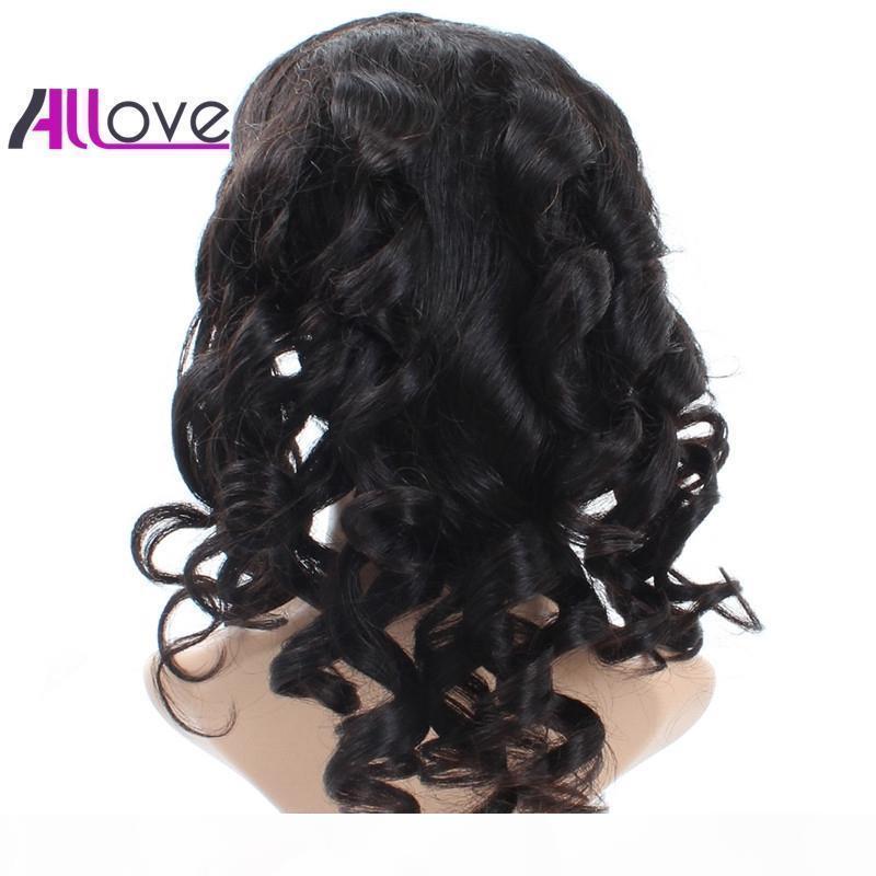 Cabelo bom 10A Cabelo brasileiro solto Aceno peruana perucas completas do laço com bebê cabelo humano de 180% Densidade Natural da linha fina Mulheres Preto Para