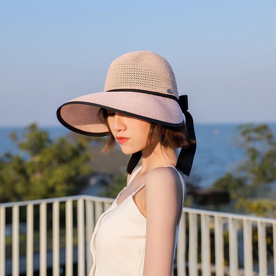 Senhora da praia chapéu de palha Mulheres Viagem largo grande Sun Cap Verão Sun sombreamento fita cor sólida bowknot Hat TTA972
