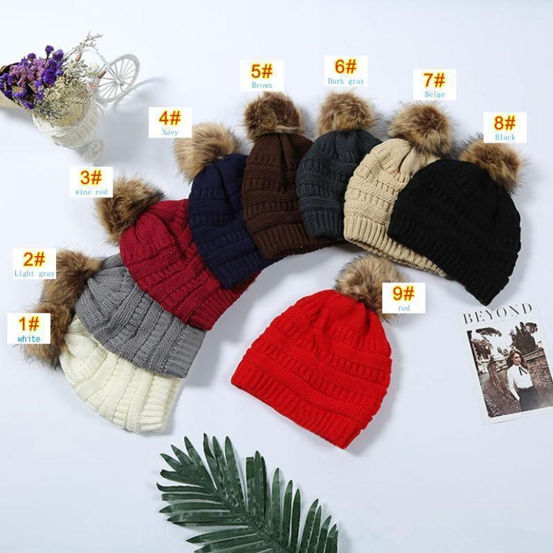 Crianças adultos grosso inverno quente chapéu para mulheres macio cabo estiramento de malha pom pomsas pombos chapéus femininos feijões gorro de esqui menina