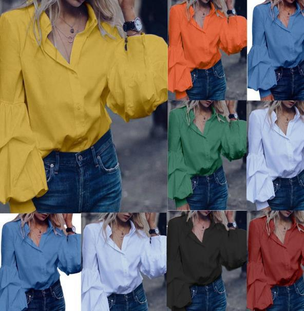 Womens Designer Blouses Solid Color Lapel Neck Womens Lantern Sleeve Shirts Long Sleeve Ladies Casual Shirts Fwmale Clothing