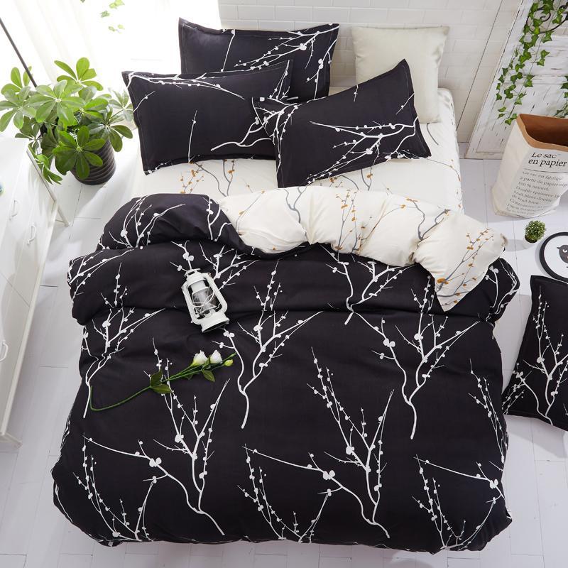 Home Textile fodera estiva assestamento 5size insieme piumino set lamiera piana fiore copripiumino decorazioni per la casa pastorale nero lenzuola bianche set57