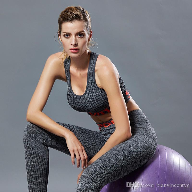 Высокая эластичность йога девушка дизайнер спортивные костюмы фитнес спортивные беговые костюмы бюстгальтер брюки леггинсы одежда комбинезоны наборы Письмо печати для женщин