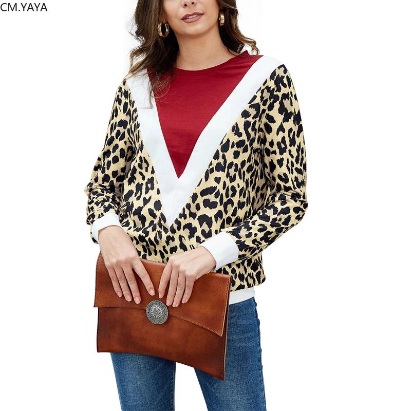 Frauen neue Winter Tees Oansatz Vollarm Leopard Print Patchwork T-shirts Sexy Fashion Night Club Party Slim Tops 791