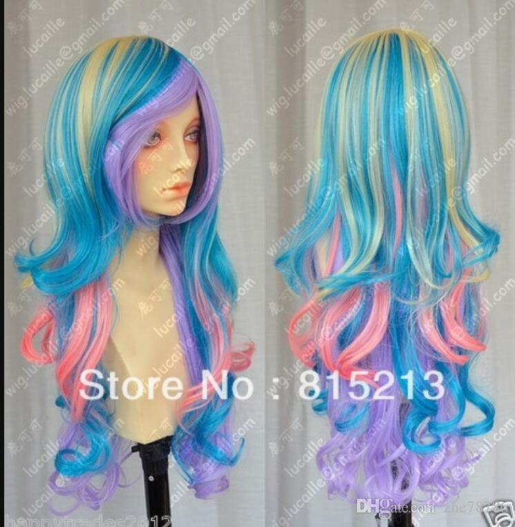LL a130 luz rubia peluca cosplay larga rizada