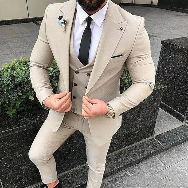 Новая бежевый Мужские костюмы Slim Fit Свадебный Groom Tuxedos 3 Pieces (куртка + брюки + жилет) Костюмы Жених Best Man Blazer 239