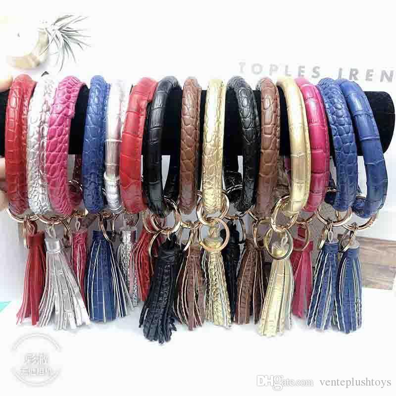 2020New Fashion Tassel Bracelets For Key Round Circle Wristlet PU Leather Women Bangle Unique Jewelry Girl Gift