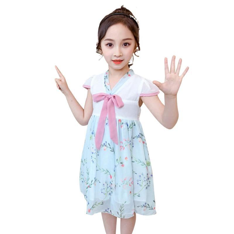 Детские летние платья для девочек Bow Mesh платья для девушки китайский стиль для детей платье V шеи Детский костюм 6 8 10 12 14