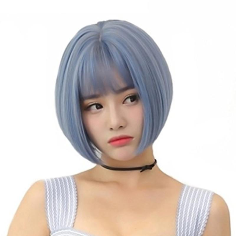 2019-Color Wig Girls Air Bangs Handsome Cute Bobo Head Short Straight Hair Fluffy Realistic Wig