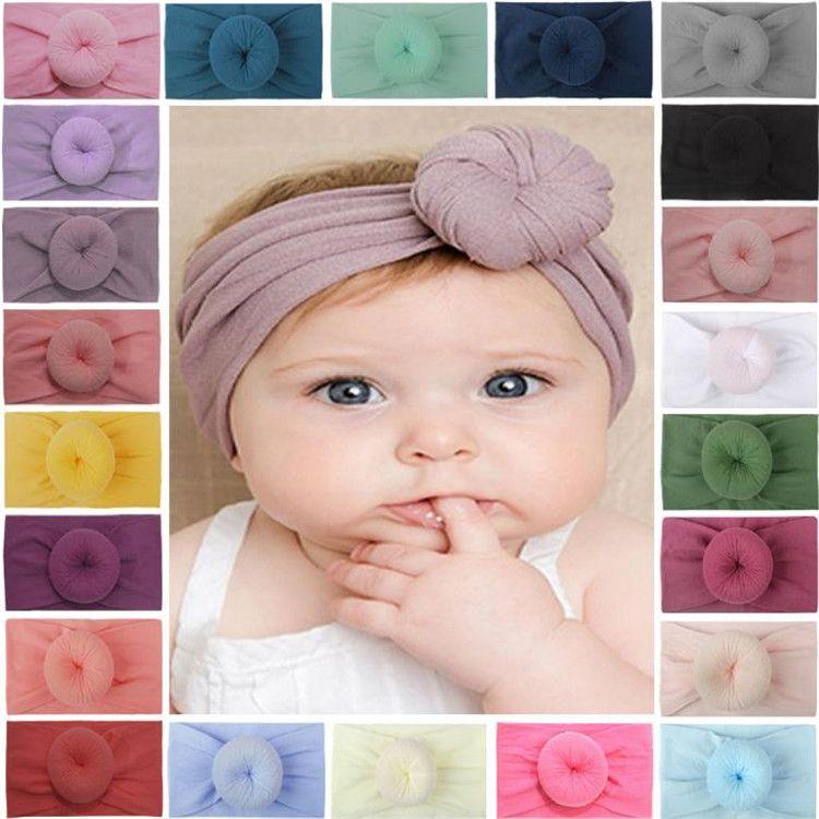 23 renk naylon moda çocuk saç bandı çocuk düz renk çörek saç bandı Süper yumuşak top düğüm bebek bandı T9I00270
