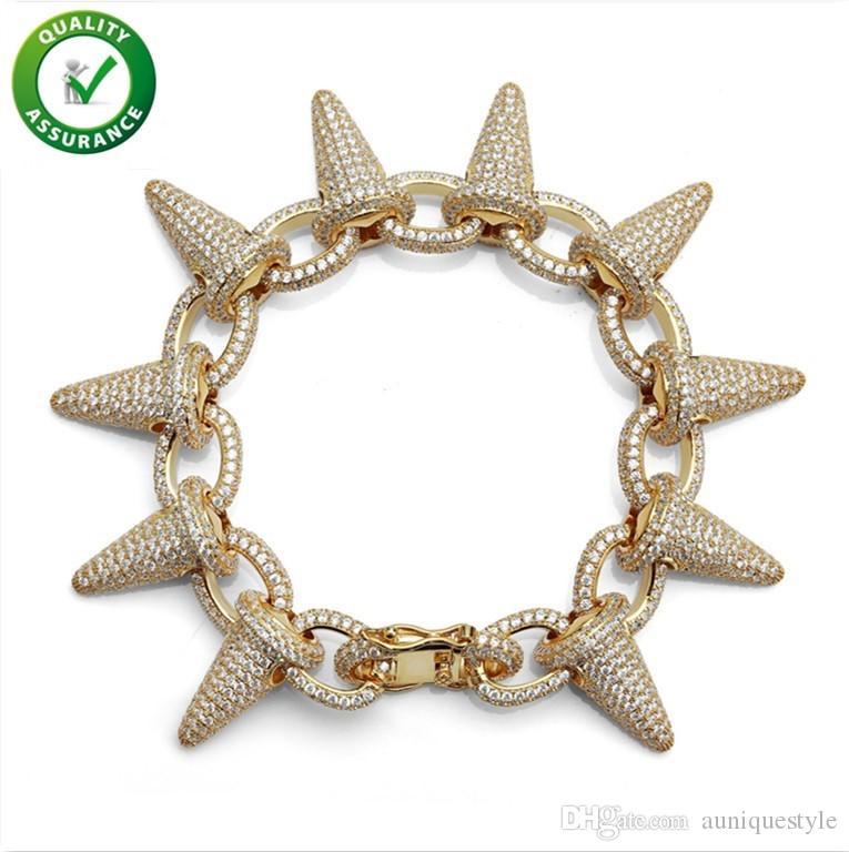 Hip Hop Jewelry Mens Bracelets Luxury Designer Bangles Cuban Link Gold Diamond Bracelet for Men Micro Paved Bling CZ Punk Rivet Fashion Gift