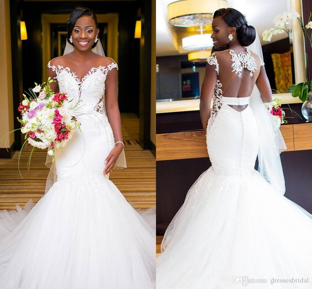Nigérian African Dentelle Mermaid Robes De Mariée Sheer Col Dentelle Appliquée Tulle Tulle Robes De Mariée Robe de mariée Vestidos de Novia