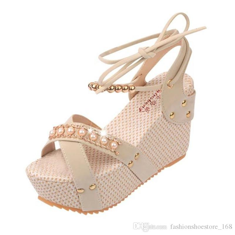 Ankle Strappy Heels Rhinestone Sandals Platform Wedges Shoes for Women Casual Vacation Comfortable Lace Up Blue/Beige/Black Sandals