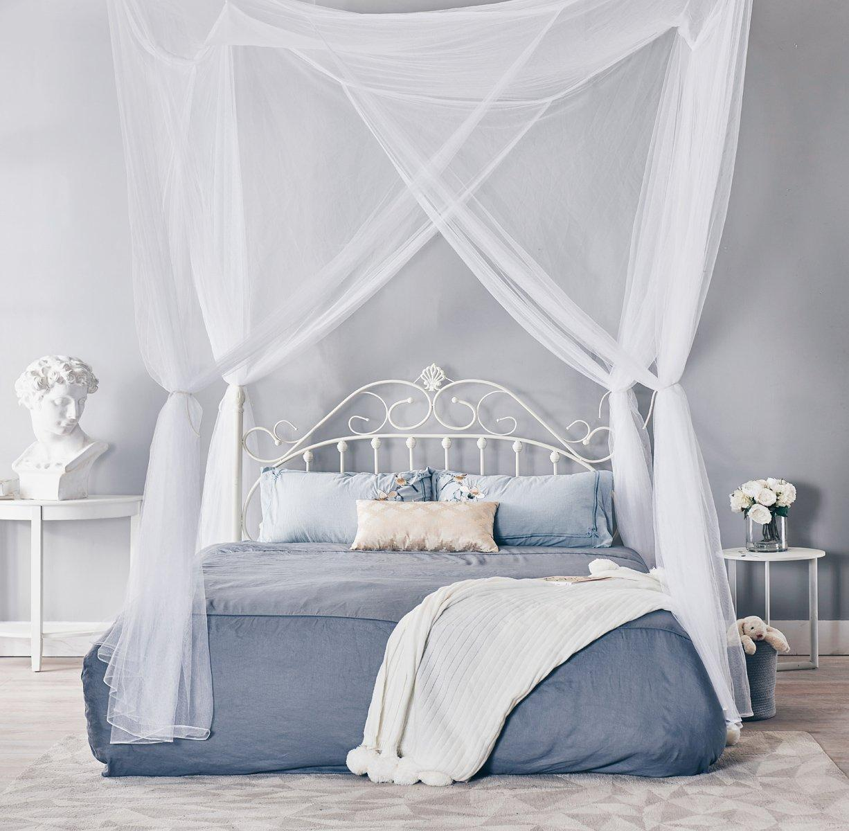 Interiors Ciel De Lit 190x210x240cm european style 4 corner post bed canopy mosquito net full  netting bedding ciel de lit moustiquaire beds kids room decoration baby
