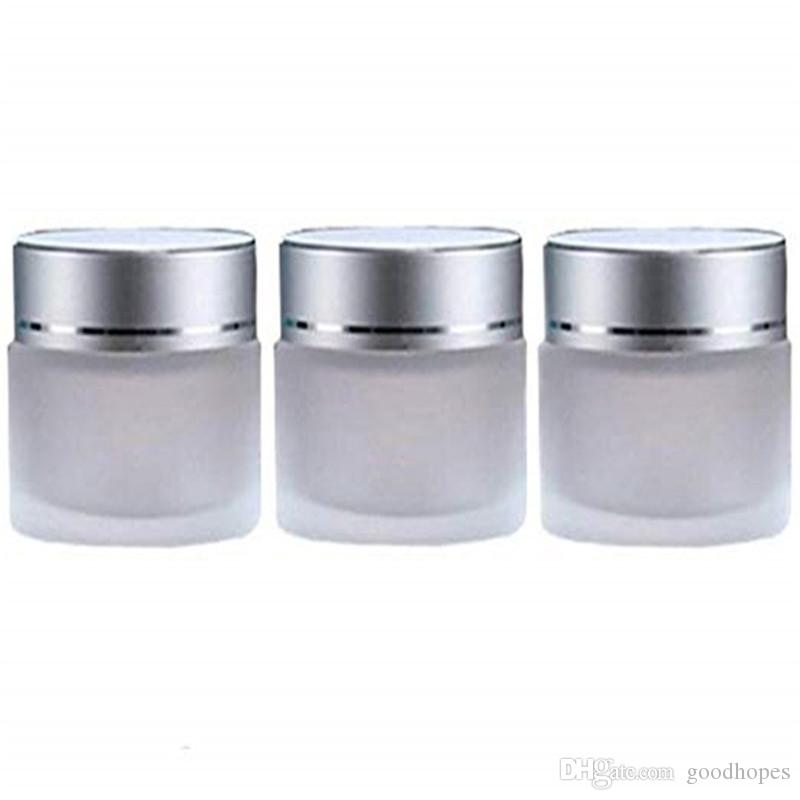 5G 10G 15G 20G 30G 50G матовое стекло косметическая банка пустого крема для крема для лица контейнер для хранения кастрюля погребальный образец бутылки с серебряными крышками