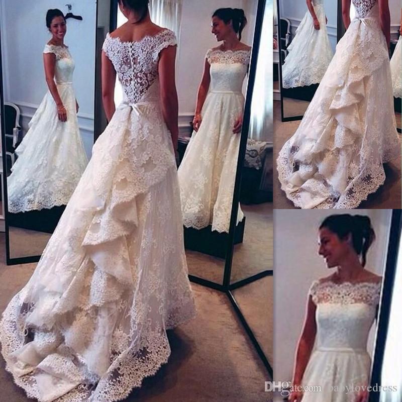 New Vintage A Linha Lace Vestidos de Casamento Branco Sheer Off The Shoulder Mangas Curtas Sash Wedding Vestidos De Noiva Com Trem Da Varredura