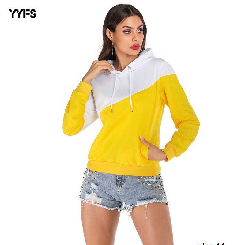 womens saison design à capuche long pull femme coutures capuche contraste Y2VN