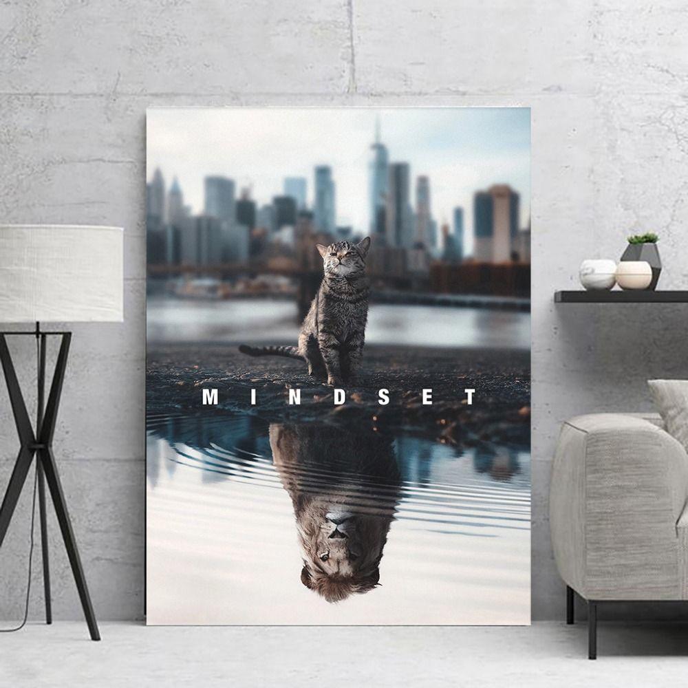 Leone o gatto mentalità parete della decorazione pittura vivente pittura camera immagini del manifesto di film tela parete per soggiorno