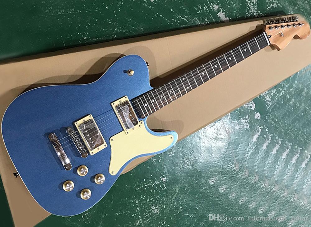 Fabrika doğrudan satış mavi elektro gitar krem pickguard, gülağacı fretboard ile, istek olarak özelleştirilebilir