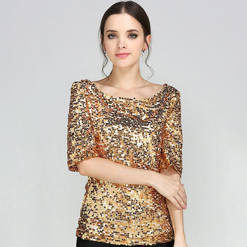 New Half Slveeve Slash Neck Sequins Mesh Sexy Slim T-shirt Women Plus Size S-5xl Tee Shirts Silver Gold Black Casual Tops Y19042702