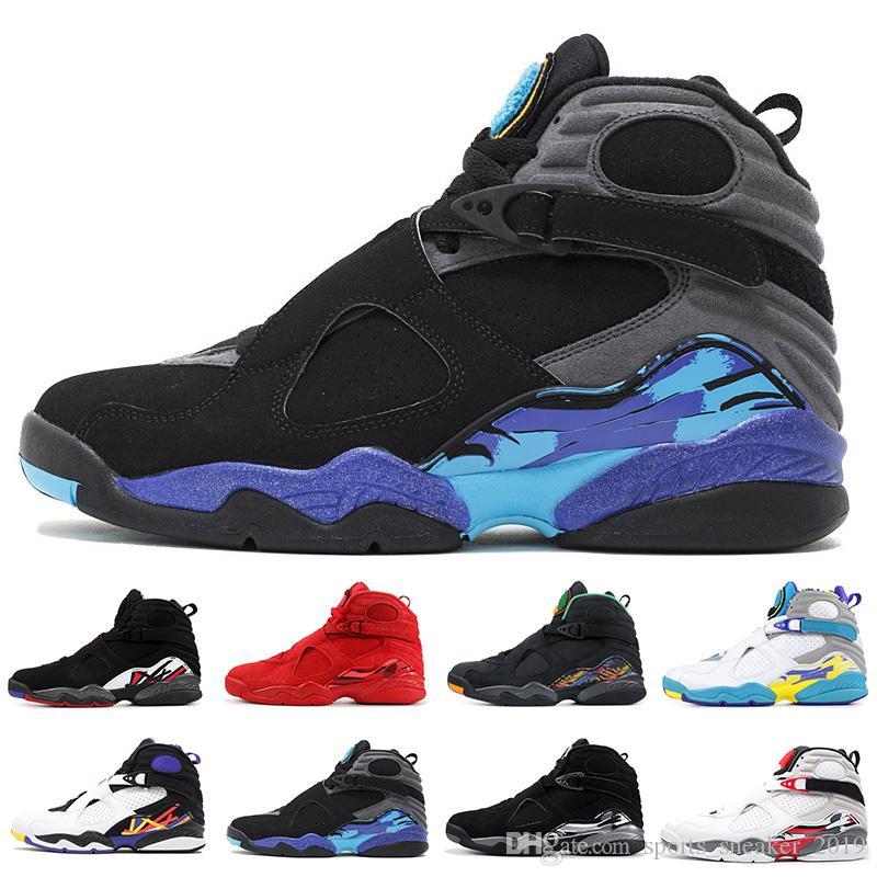 Nike Air Jordan 8 Retro erkekler basketbol ayakkabı 8 Sevgililer Günü Aqua Siyah Beyaz Krom Geri Sayım Paketi Playoff Mens Tasarımcı Trainer Spor Sneakers Boyutu 41-47