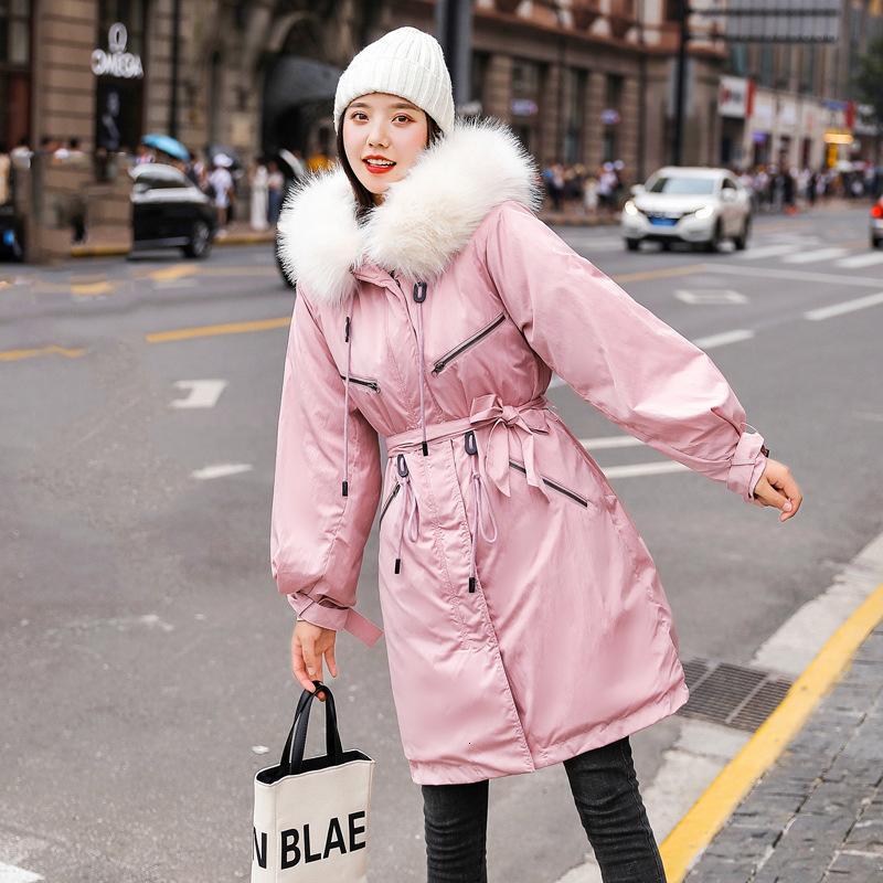 2019 Moda Ayarlanabilir Bel Kadınlar Kış Ceket Pamuk yastıklı Sıcak Kalınlaşmak Kürk Yaka Bayan Uzun Coats Parka Kadın Ceketler