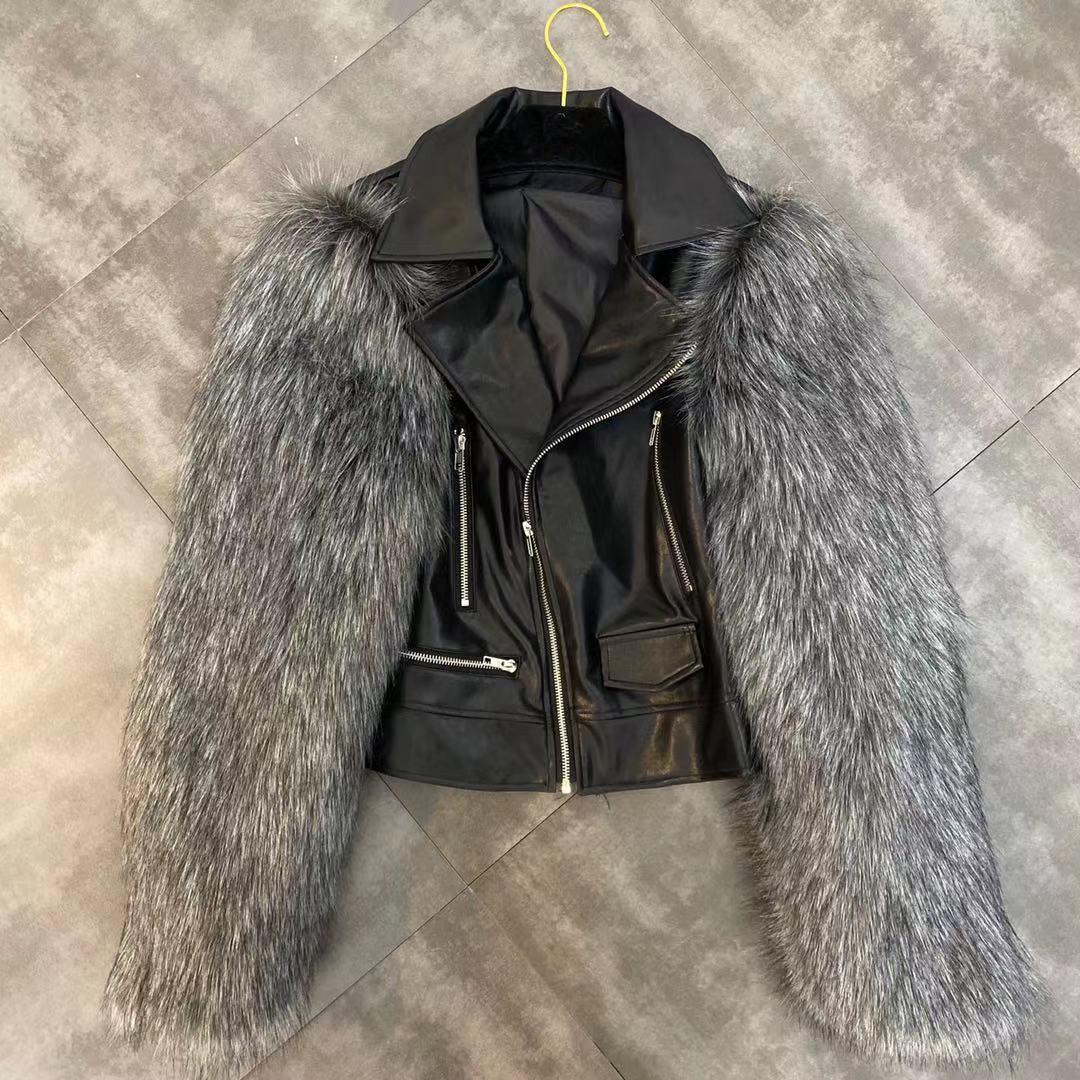 yaka PU deri aşağı 2020 yeni moda kadın 'en uzun kollu dönüş sahte tilki kürkü serin moda kısa ceket ceket S M L yamalı