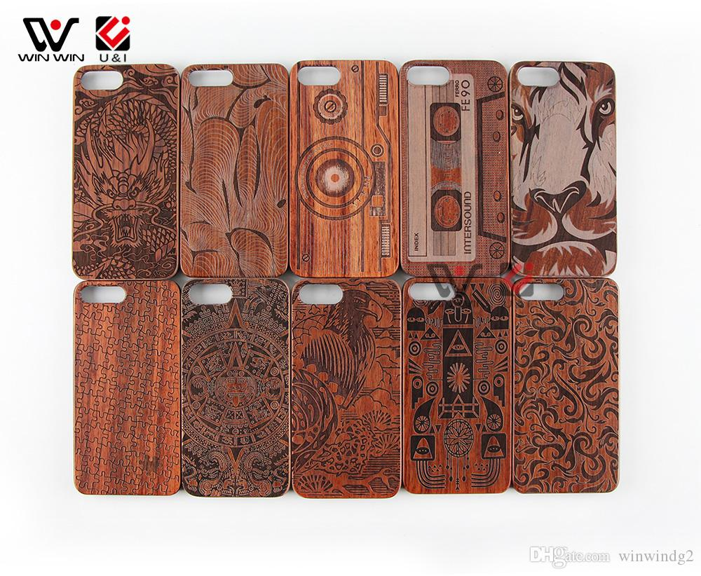 Original Wood Cell Phone Case U&I Real Natural wood with Figure Pattern Shockproof Protective Cover Case For Iphone 6 6plus 7 8